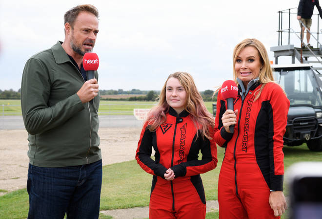 Jamie Theakston was on hand to encourage Amanda and Charlotte - and enjoy a front row seat for their big jumps