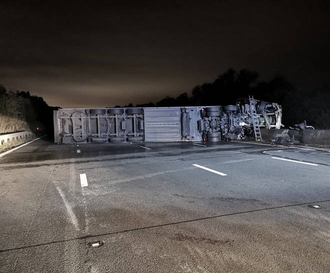 Overturned lorry on the M6 between Stafford and Gailey