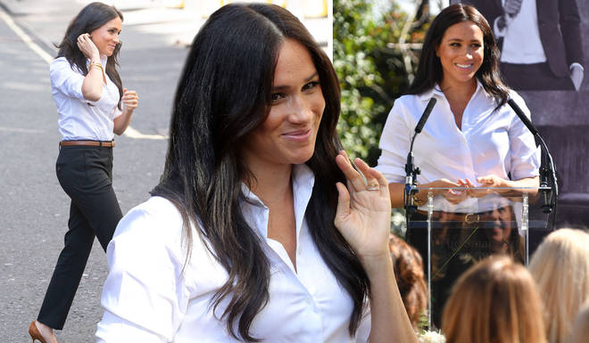 Meghan Markle looked chic in a white shirt and black trousers for the launch of her clothing collection with Smart Works