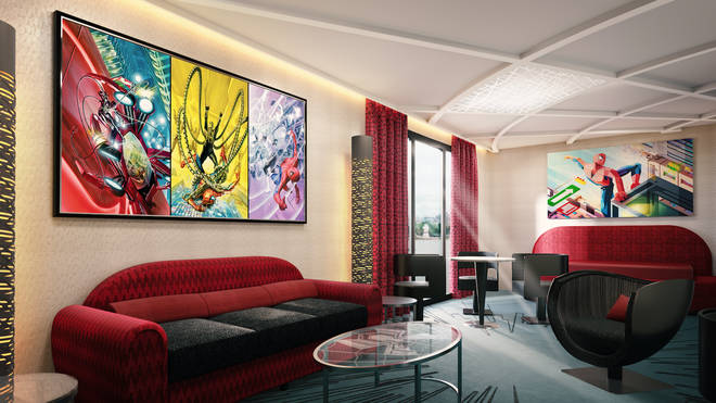 The rooms will feature over 300 pieces of Marvel artwork