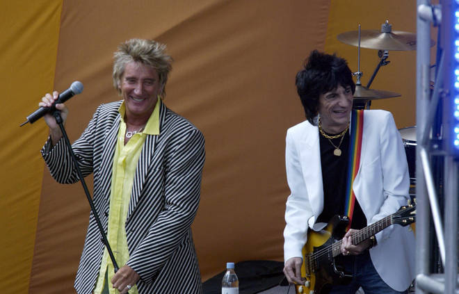Sir Rod Stewart's old friend Ronnie Wood supported him