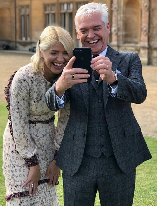 Holly Willoughby and Phillip Schofield dressed up last week for a Downtown Abbey speical