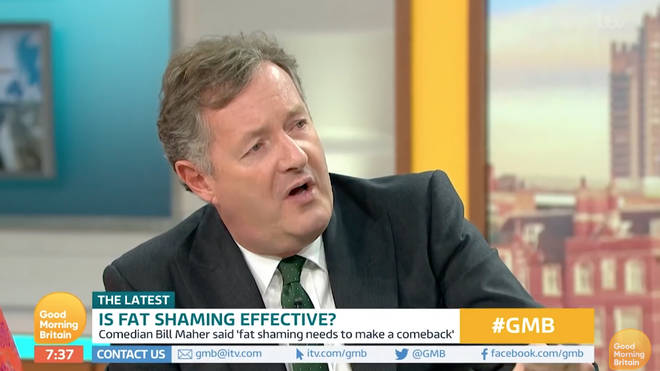 Piers Morgan has sided with Bill Maher, and wants people to stop celebrating obesity