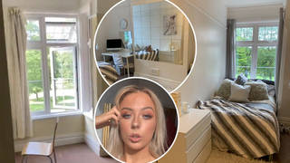The glam bedroom doesn't even look like the same place