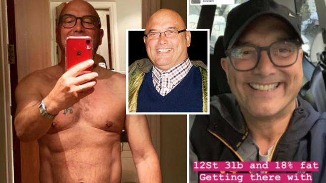 Gregg Wallace shows off his slimmed-down torso on Instagram.