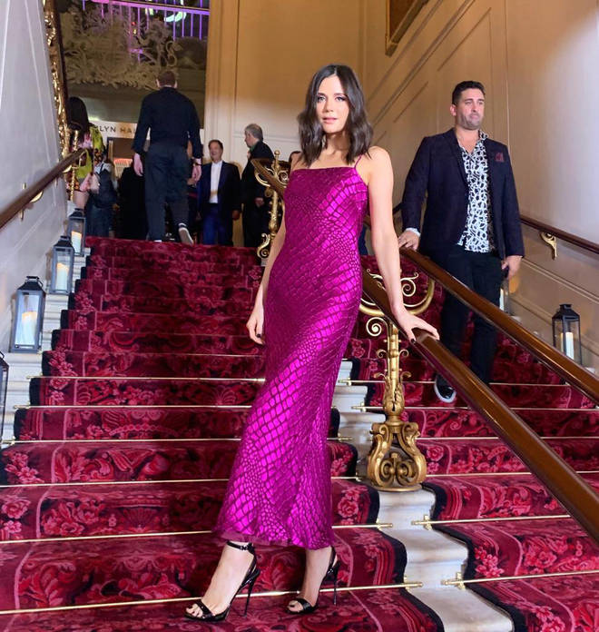 Lilah wore this stunning magenta gown for the Gareth Pugh x Virgin bash