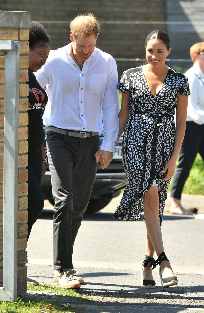 Meghan Markle looked beautiful in a black and white tribal print dress