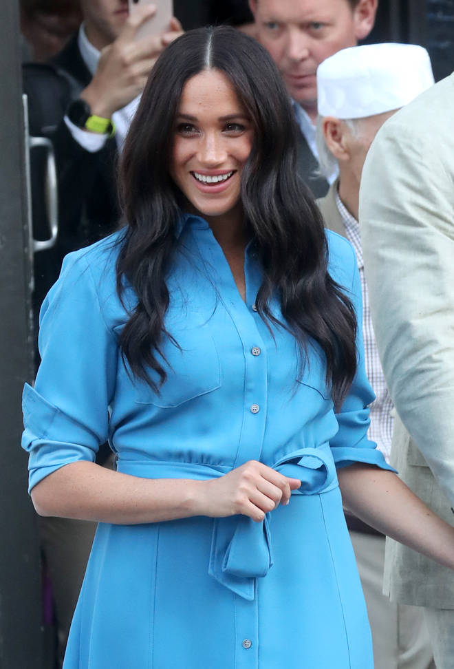 The Duchess of Sussex wore her hair down this time to change the look slightly