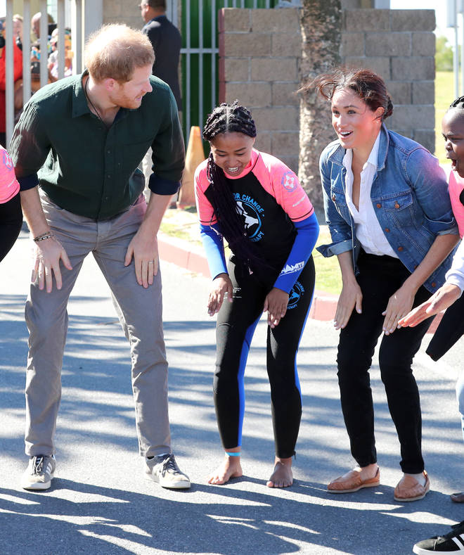 The couple met with Waves for Change, and took part in a team building exercise led by the charity's surf mentors