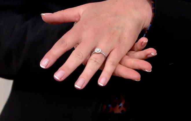 The soap expert showed off her gorgeous engagement ring on the show