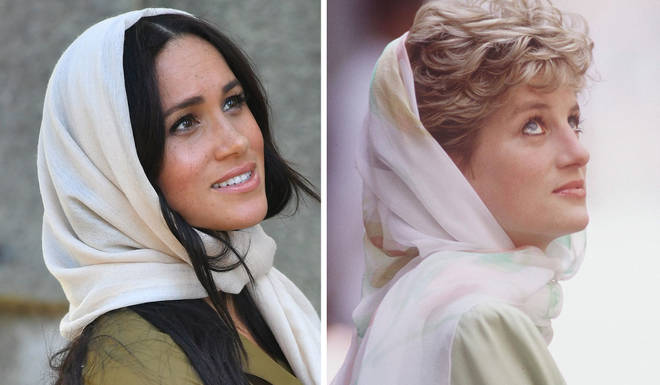meghan markle shares resemblance to princess diana as she wears headscarf for mosque heart princess diana as she wears headscarf