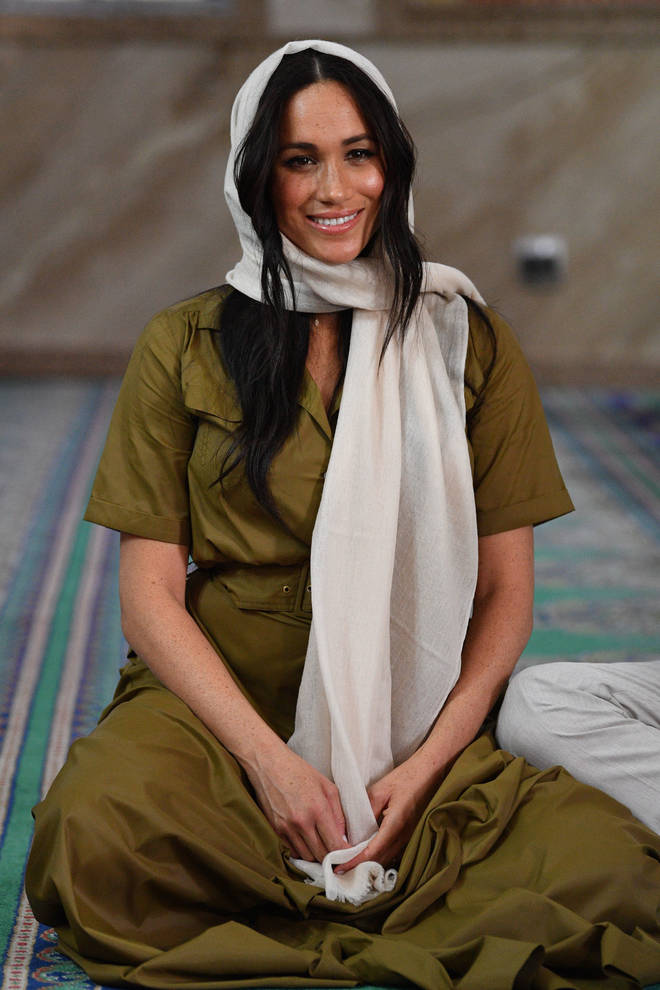 The Duchess of Sussex dressed respectfully for the visit to the mosque