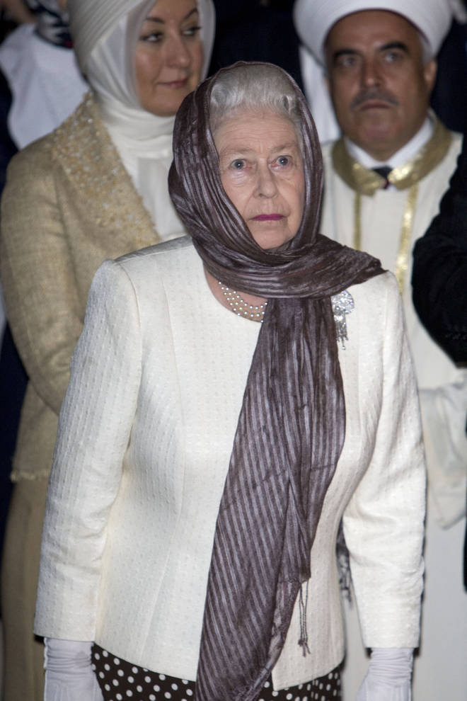 The Queen covered her head as she visited a mosque in Turkey back in 2008