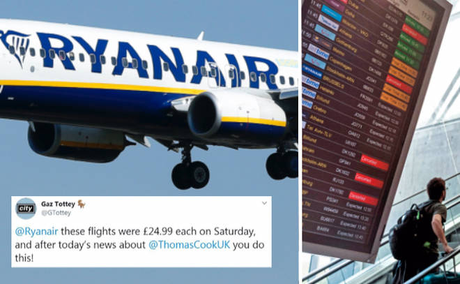 Ryanair hikes up its prices after Thomas Cook's collapse, according to Twitter users.