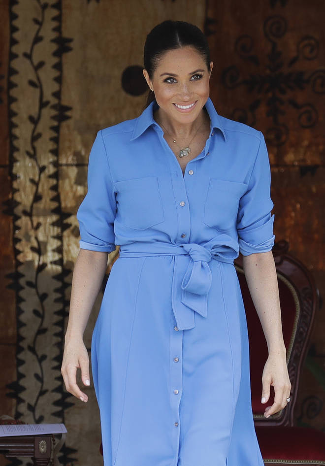 Meghan Markle wears blue Veronica Beard dress on Royal Tour