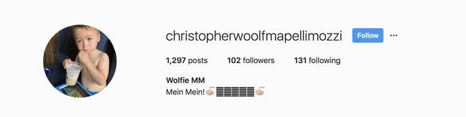 Edo's son, Wolfie has an Instagram account, run by his parents