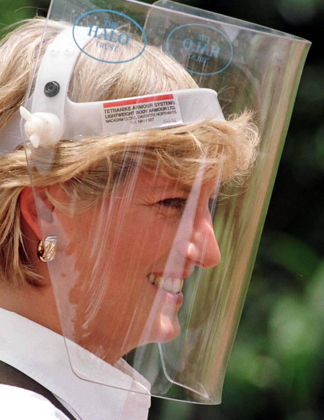 Diana pictured in 1997 when she visited the exact same site