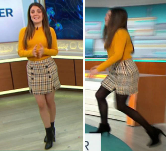 Meteorologist Laura Tobin strolled across the studio wearing black tights, despite having bare legs seconds before.