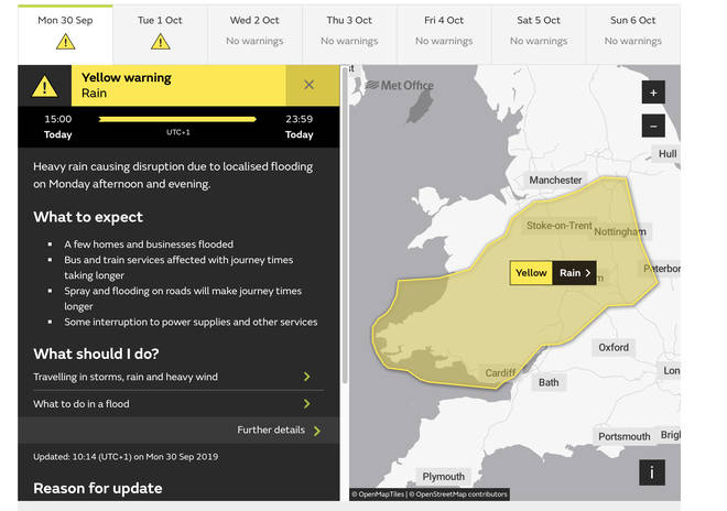 The Met Office have issued warnings for a large chunk of the UK