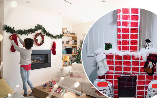 The DIY chimney is a centerpiece in the living room