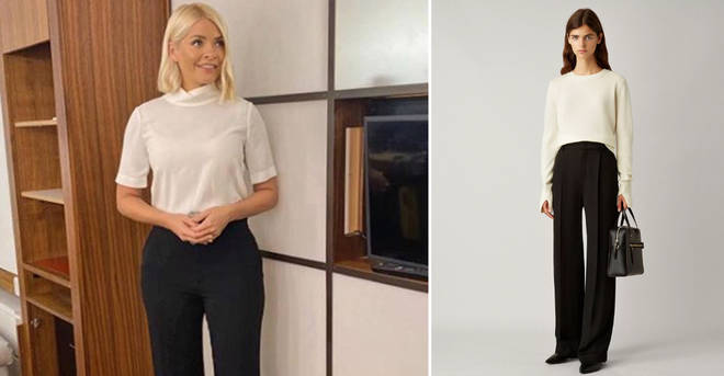 Holly Willoughby wore sleek black trousers today