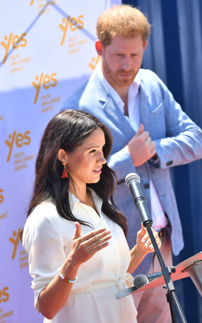 Both the Duke and Duchess of Sussex spoke to the crowds