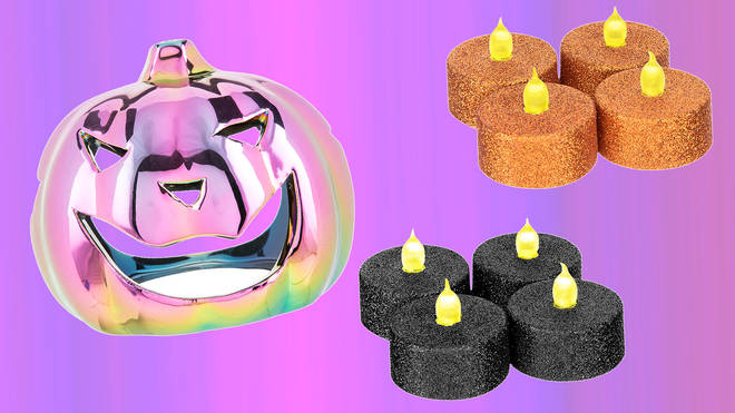 These glittery tea lights and tea light holder are all £1 each