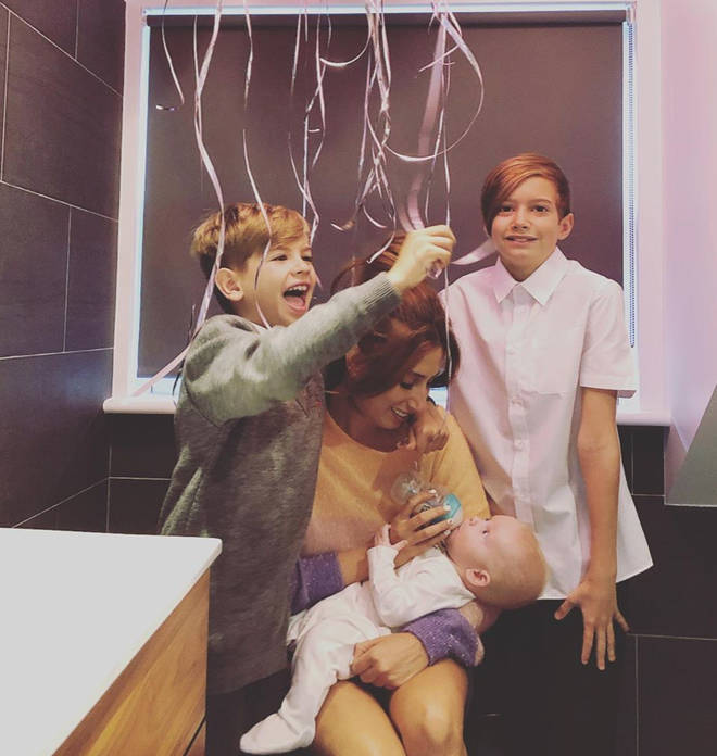Stacey Solomon fed Rex while her sons sang her Happy Birthday