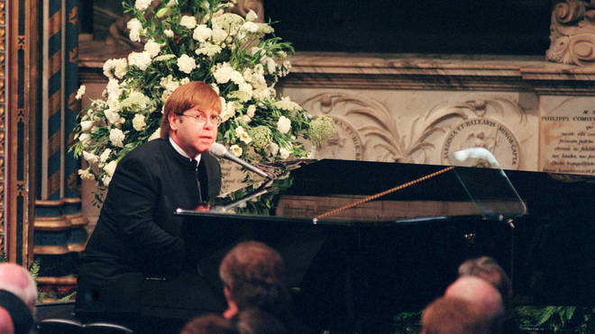 "Elton John sings ""Candle In The Wind"" at Princess Diana&squot;s funeral in 1997"