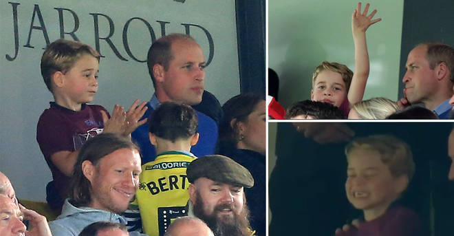 Royal fans spot Prince George's adorable reaction to Aston Villa scoring at football game with William and...