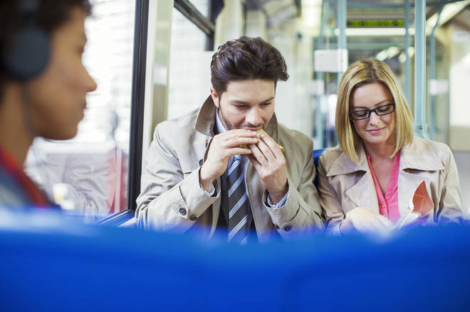 The former Chief Medical Officer has called on eating on public transport to be banned (stock image)