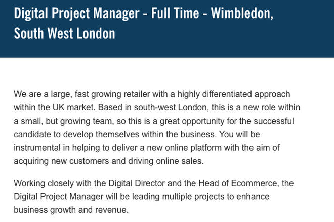Lidl are advertising for a Digital Project Manager