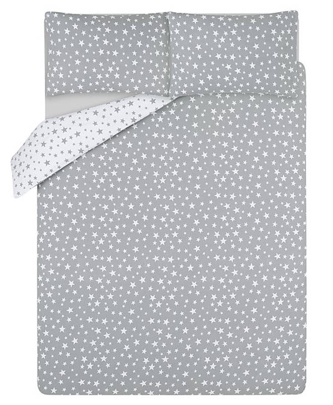 Grey Star Print Soft & Cosy Brushed Cotton Duvet Set by George at Asda