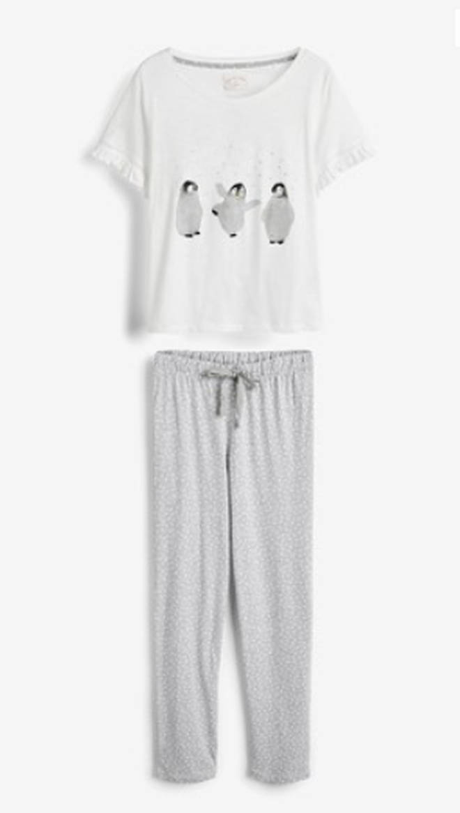 Grey Penguin Pyjamas With Ribbon Wrapping