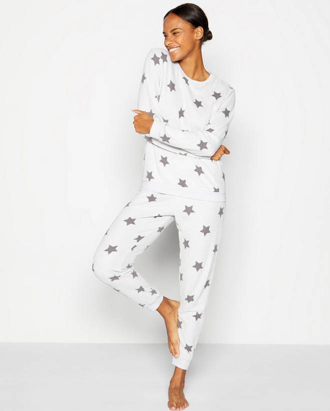 Lounge & Sleep - Grey Star Print Waffle Textured Pyjama Set, Debenhams