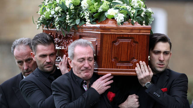 Michael Pattemore attended his late wife's funeral alongside Lynda's sons Michael and Robbie.