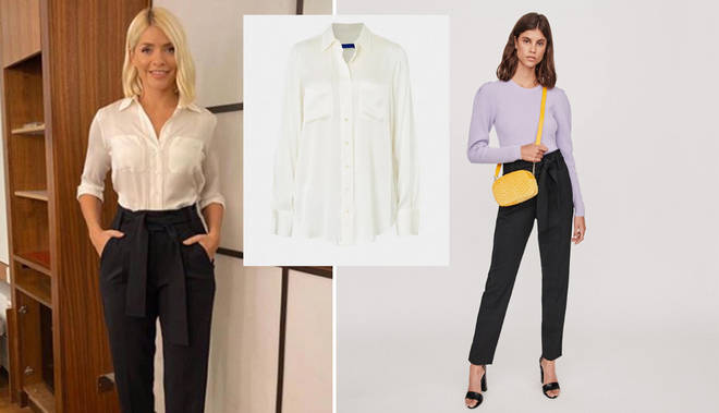 Holly Willoughby's This Morning outfit today: How to get her £199 silk shirt and tailored trousers