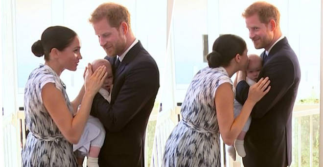 meghan markle kisses baby archie in adorable unseen moment with prince harry heart meghan markle kisses baby archie in