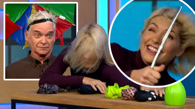 This Morning descends into chaos as Holly Willoughby and Phillip Schofield test umbrellas against wind machine