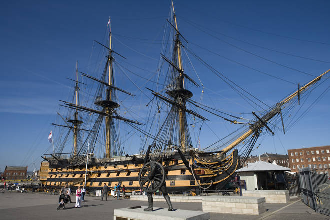 HMS Victory its the oldest commissioned ship in the Royal Navy