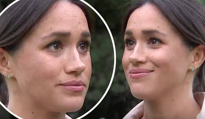 Meghan Markle holds back tears as she opens up about dealing with negative press while pregnant in new...