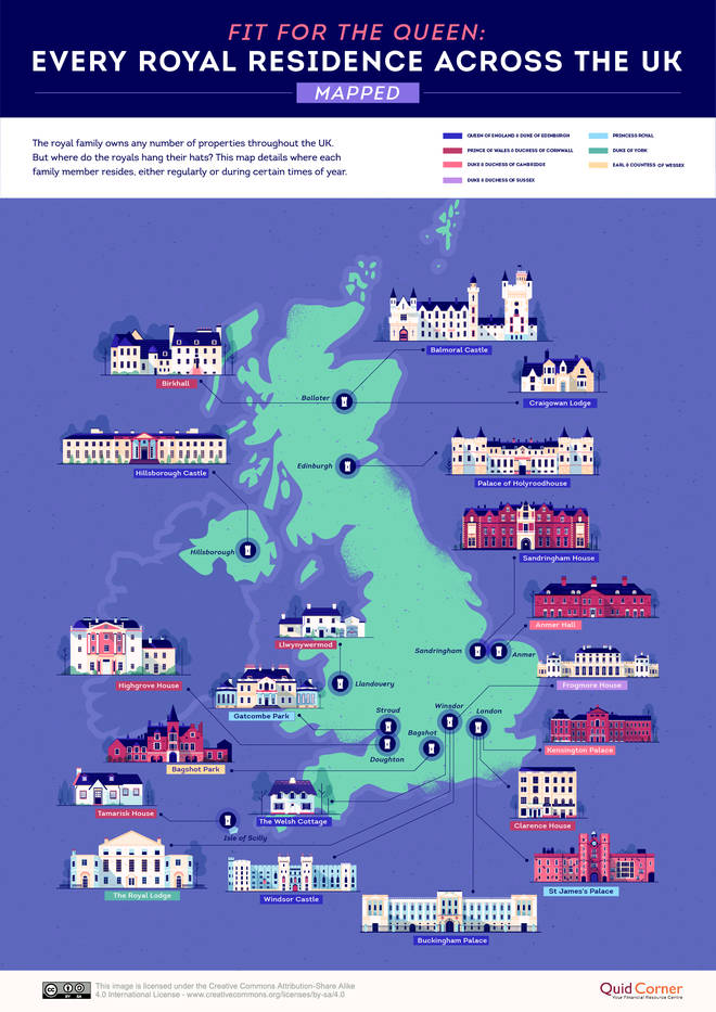 UK personal finance blog Quid Corner created a map that shows where the royals live across the UK.