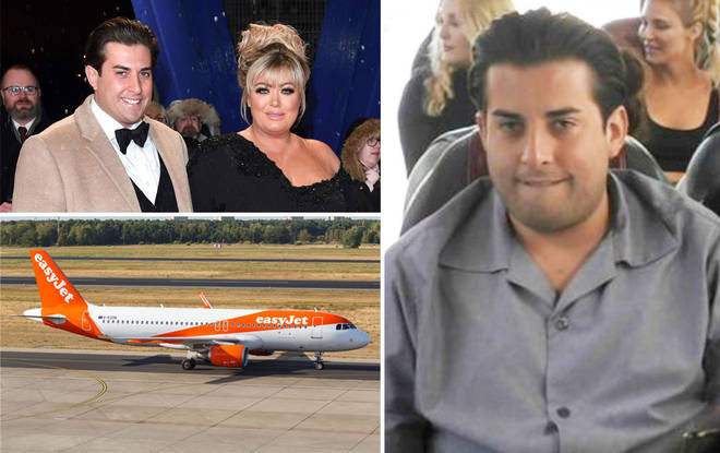 The TOWIE star tried to open a fire door after being refused entry to the plane
