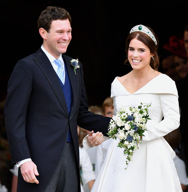 Princess Eugenie one of the Queen Mother's favourite tiaras on her wedding day