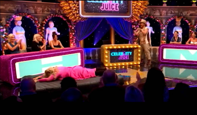 Gemma Collins recreated her iconic Dancing on Ice fall on Celebrity Juice