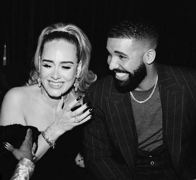 Adele looked happy as she partied with Drake