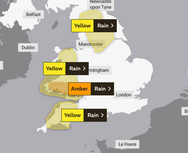 Amber warnings have been issues by The Met Office for south Wales