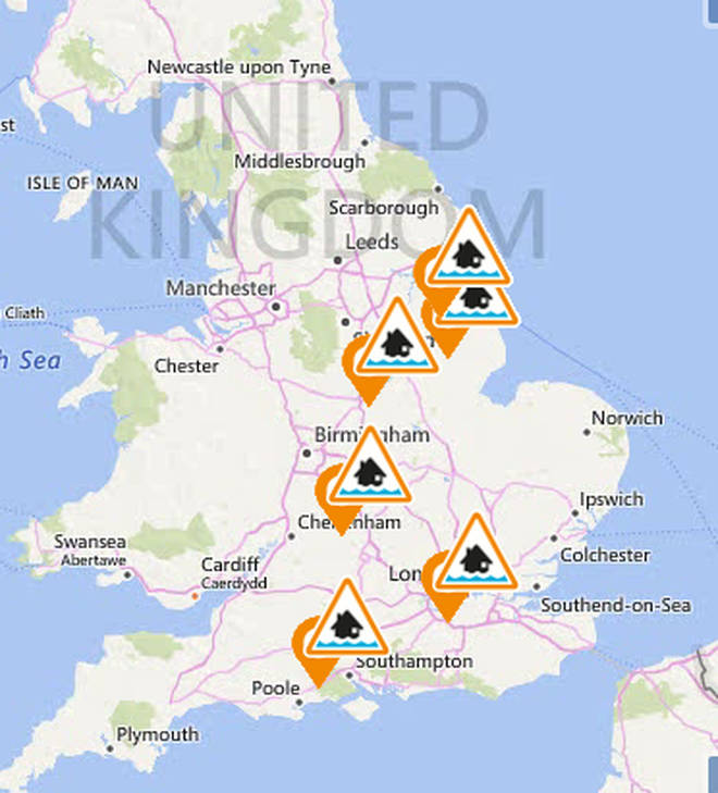 There are six alerts issues over the UK by the Environment Agency