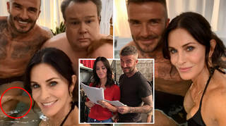Courteney Cox has raised eyebrows on social media as she was pictured touching David Beckham's leg.