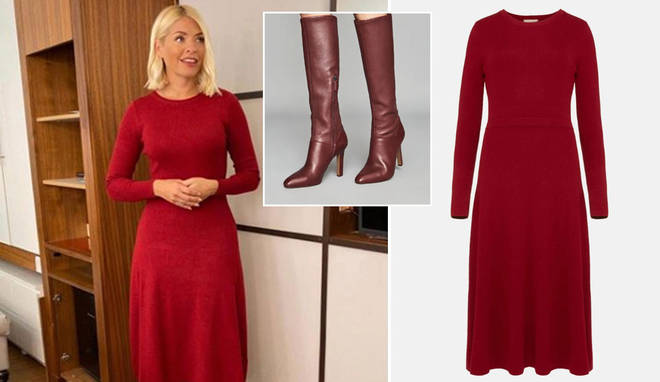 Holly is wearing a red dress and matching boots on This Morning today
